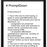 Screenshot of PromptDown on iPhone 4