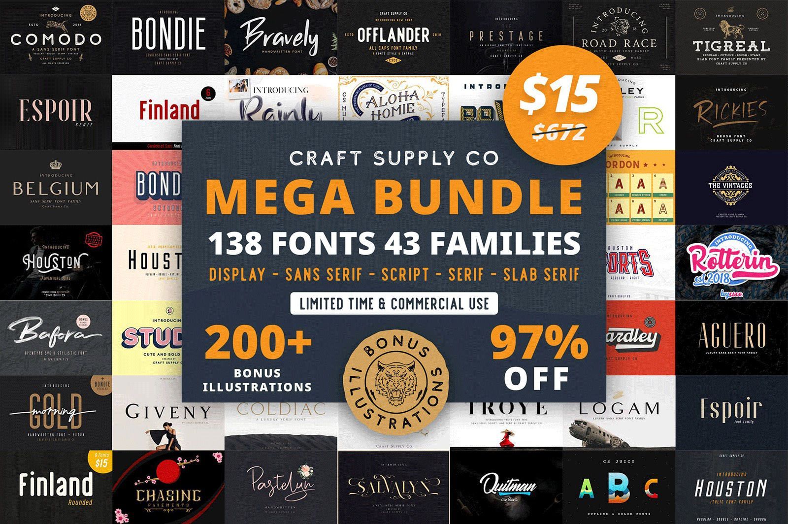MightyDeals: Mega Bundle of 130+ Fonts & 200+ Graphic