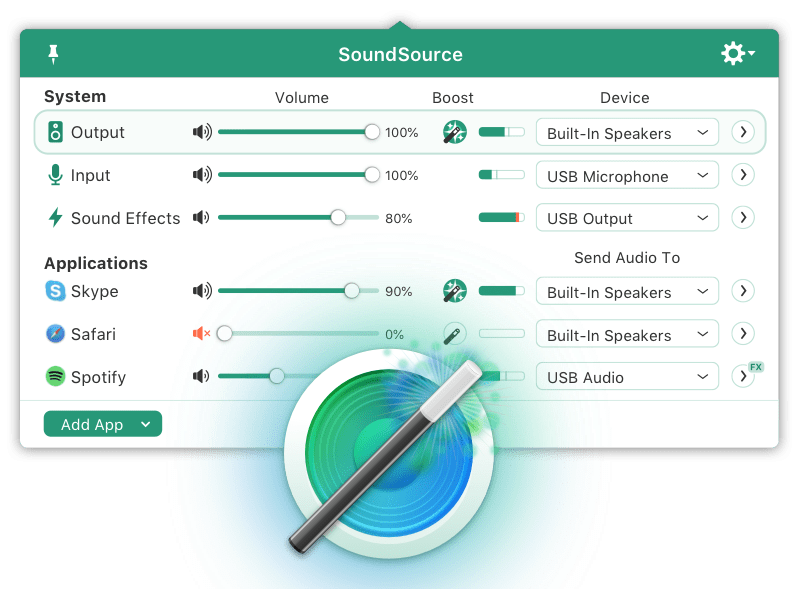 screenshot of soundsource on mac