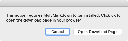 Screenshot: System dialog to open MultiMarkdown download page