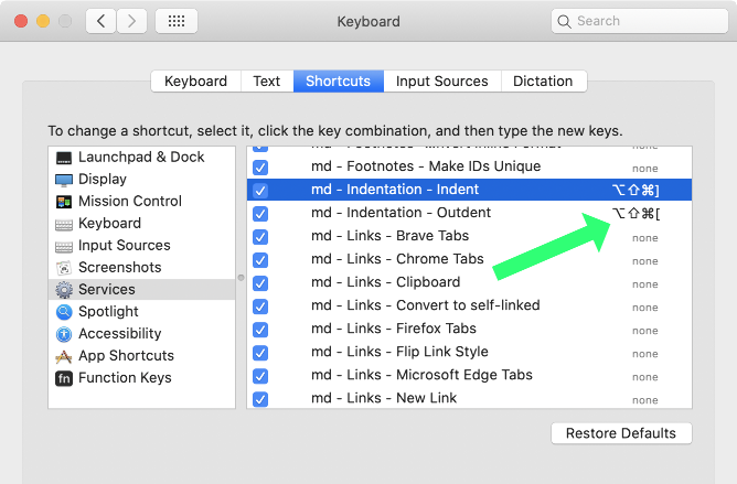 Screenshot: System Preferences>Keyboard>Shortcuts