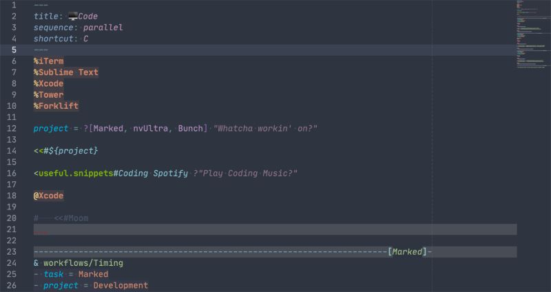 Screenshot of Bunch File in Sublime Text