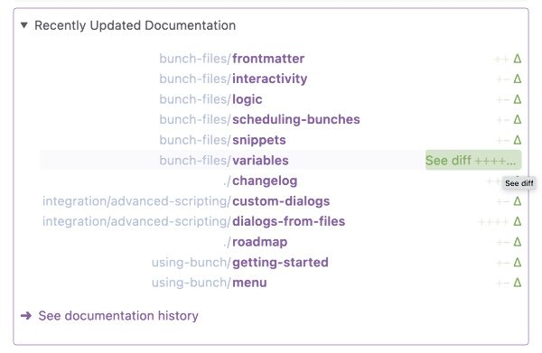 screenshot of recently updated documentation section