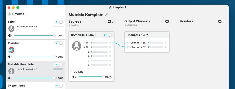 Screenshot of virtual device in Loopback
